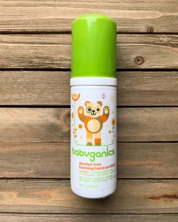 babyganics, babyganics foaming hand sanitizer, alcohol free, on the go, diaper bag, baby products, safe