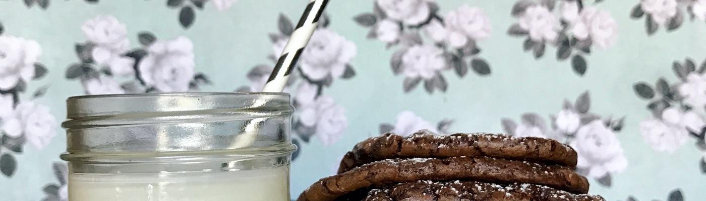 Christmas brownie cookies, chocolate, milk and cookies, sweets, sugar, cookies, milk, holiday