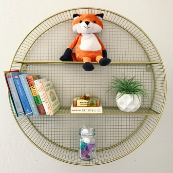 pillowfort, target, bookshelf, circle, gold shelf, foxes, boy nursery