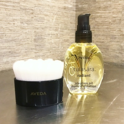 aveda, radiant oleation oil, facial brush, skin care,