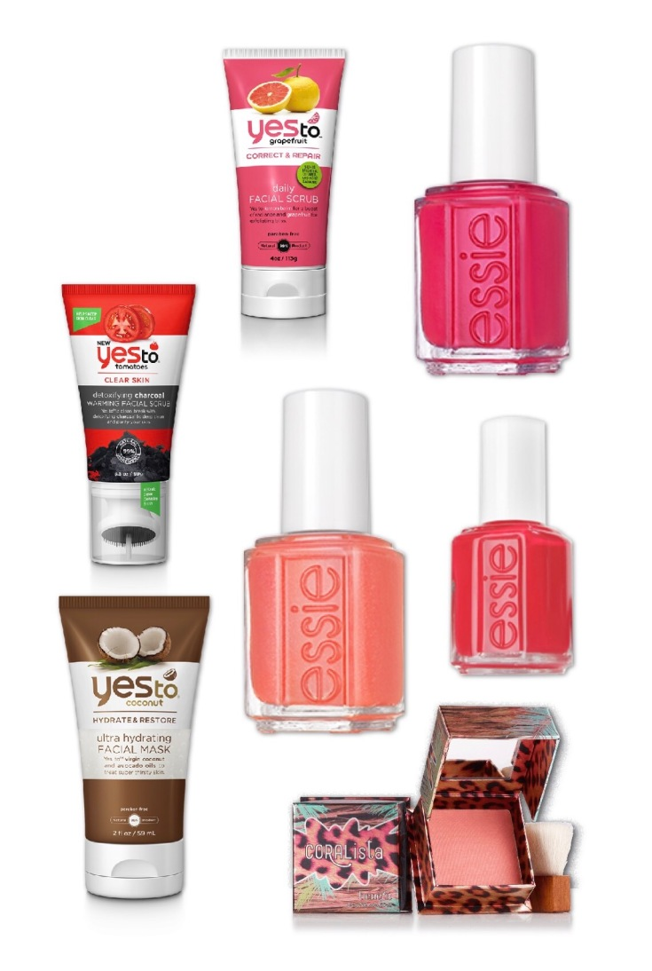 giveaway, beauty products, essie polish, yes to, coralista, blush